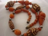 1930s Art Deco Bead Necklace - Hand Carved Early Plastic (sold)